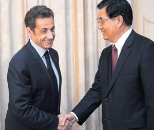 Nicolas Sarkozy et Hu Jintao